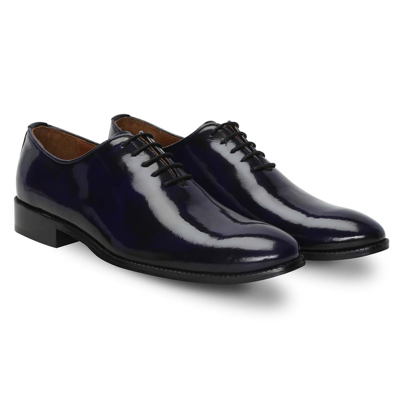 Whole Cut/One - Piece Royal Blue Shiny Leather Oxford Formal Shoes By Brune