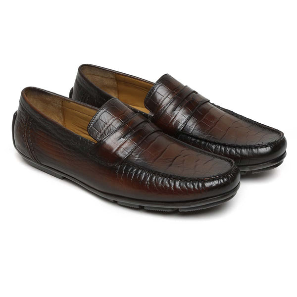 Brown Croco Print Leather Moccasins For Men By Brune