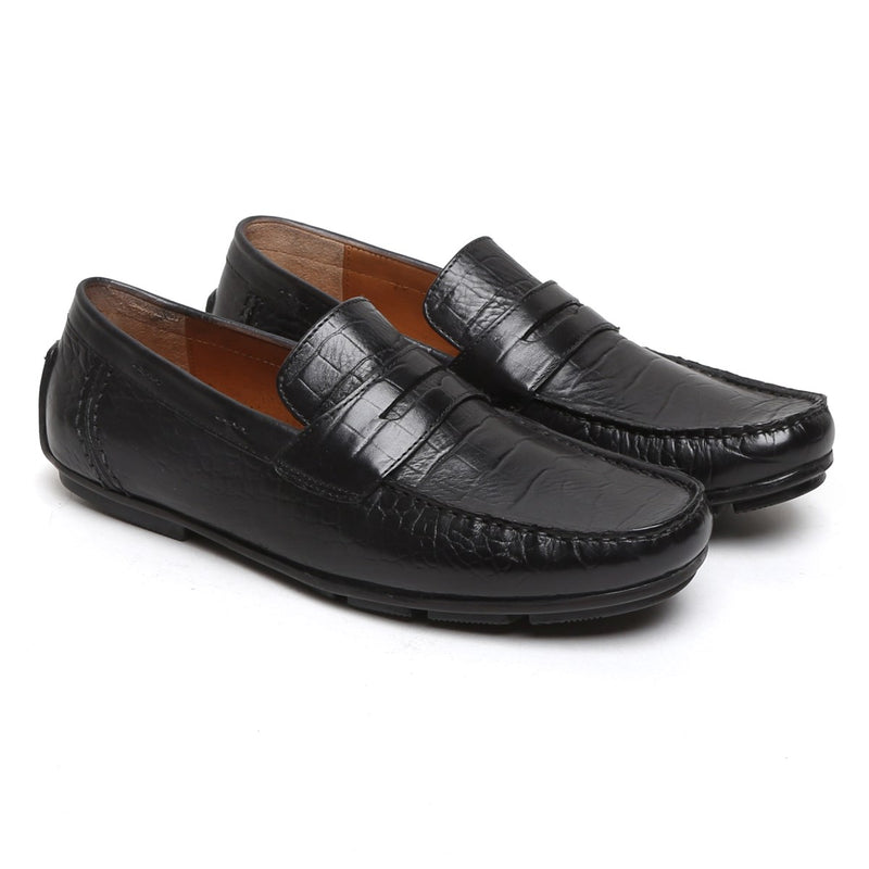 Black Croco Print Genuine Leather Moccasins For Men By Brune
