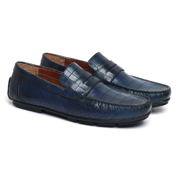 Blue Deep Cut Croco Print Genuine Leather Moccasins For Men By Brune