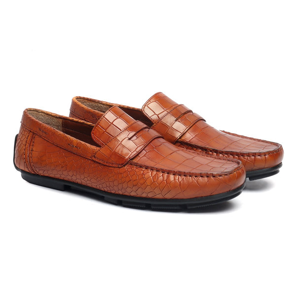 Tan Deep Cut Croco Print Genuine Leather Moccasins For Men By Brune