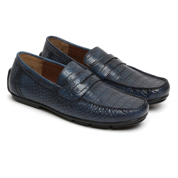 Blue Genuine Leather Loafers By Brune