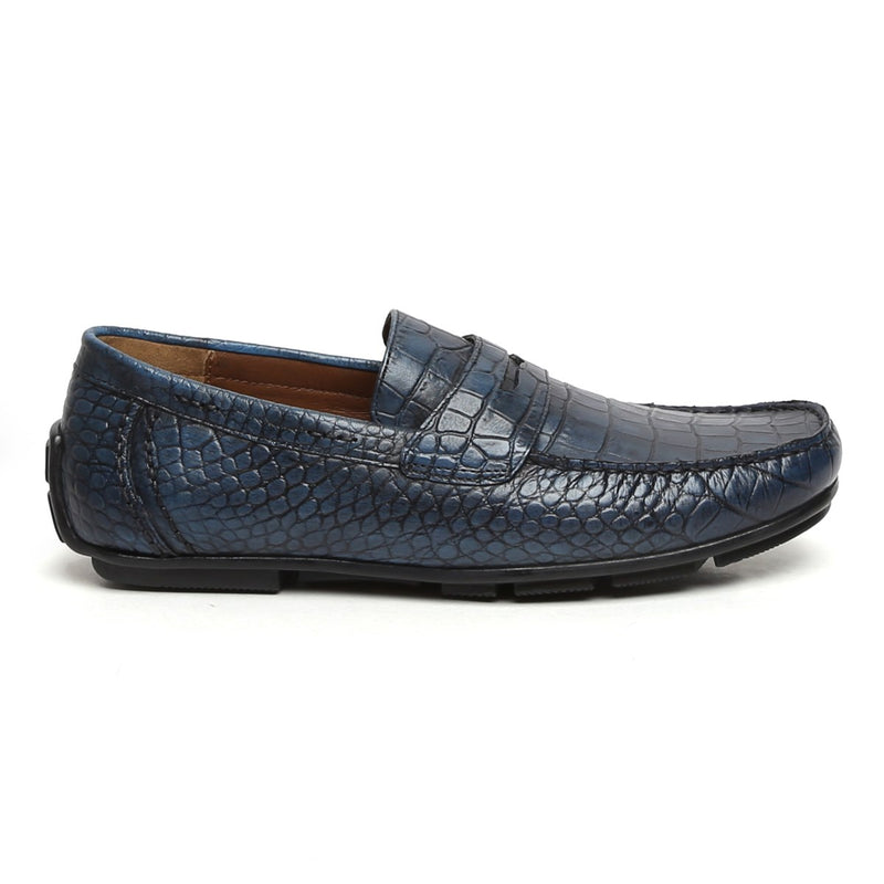 Blue Croco Print Genuine Leather Moccasins For Men By Brune