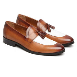 Tan/White Combination Split Toe Tassel Loafers By Brune