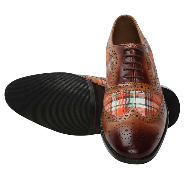 Tan Leather / Orange Check Denim Full Brogue Wingtip Formal Shoes By Brune