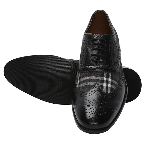 Black/Grey Leather Brogue/Oxford By Brune