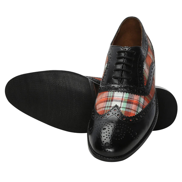 Black Leather / Orange Check Denim Full Brogue Wingtip Formal Shoes By Brune