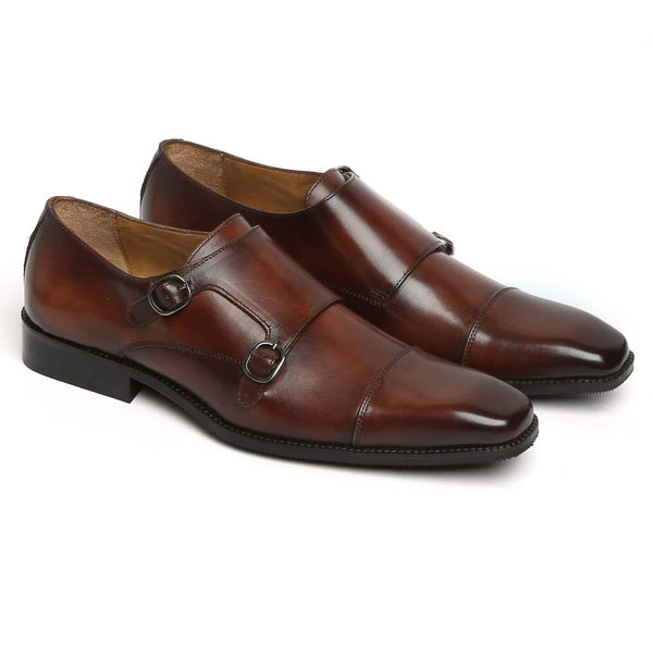 Brown Genuine Leather Squared Cap Toe Double Monk Strap Formal Shoes By Brune