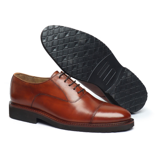 Cognac Leather Ultra Light Weight Police Uniform Shoe by Brune & Bareskin