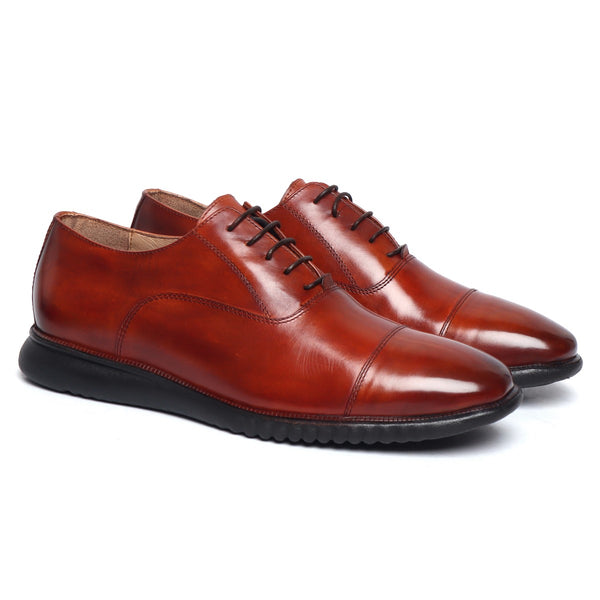 Cognac Leather Ultra Light Weight Police Uniform Shoe with Sneaker Sole by Brune & Bareskin