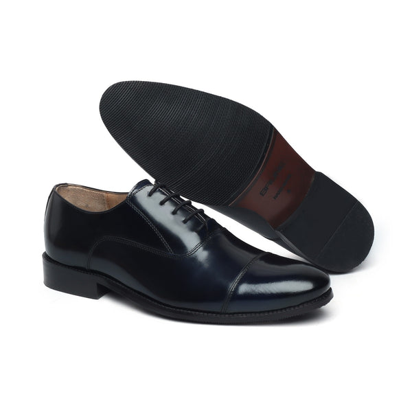 Black Cap Toe Leather Shoes With Light Weight Sole By Brune