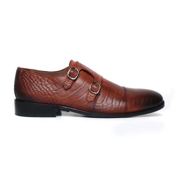 Tan Genuine Leather Monk Shoes By Brune
