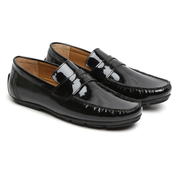 Black Genuine Leather Loafers By Brune
