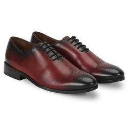 Wine Leather Whole Cut/One Piece Medallion Toe Oxford Formal Shoes By Brune