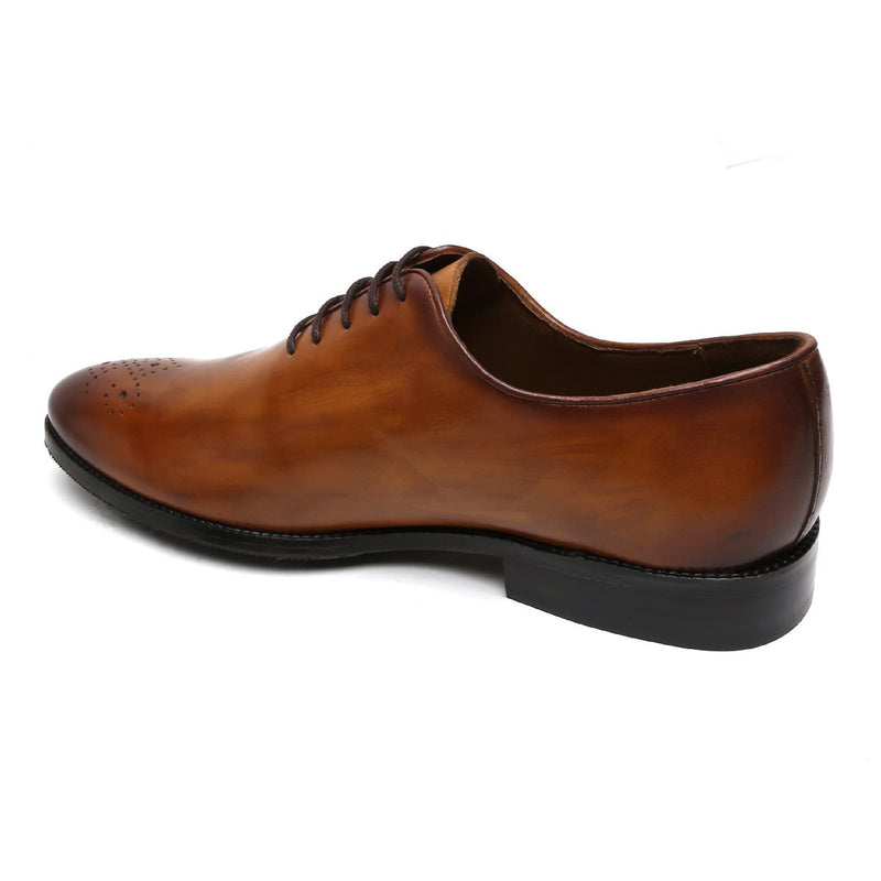 TAN LEATHER WHOLE CUT/ONE PIECE MEDALLION TOE OXFORD SHOES BY BRUNE