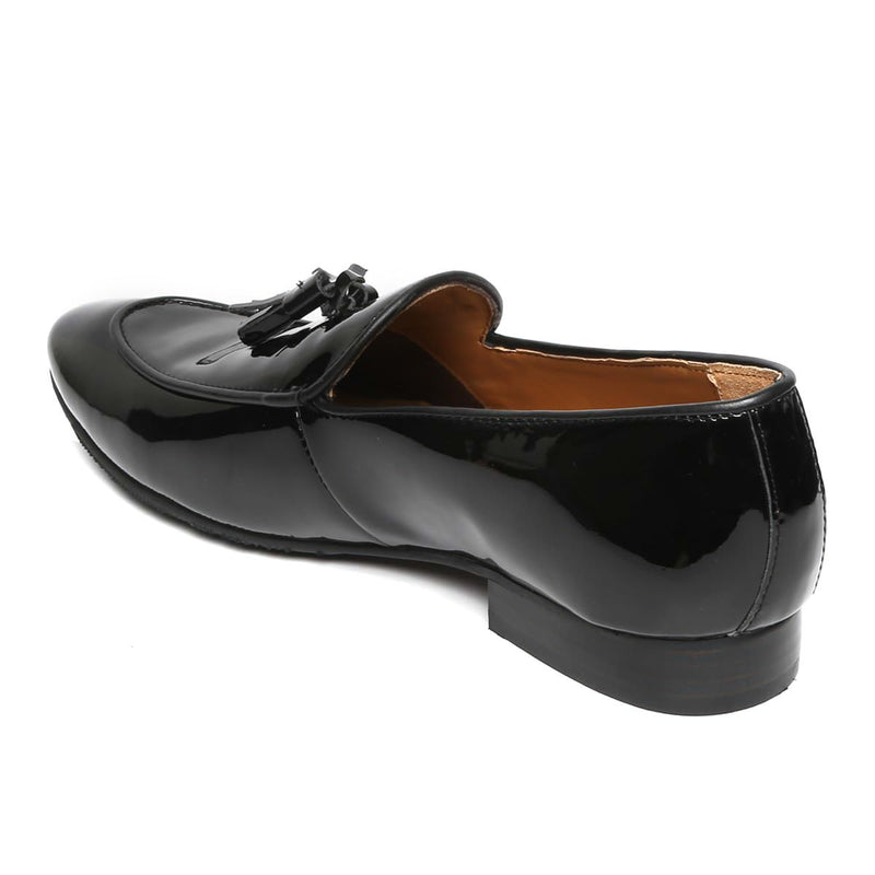 Black Patent Leather Apron Toe Tassel Slip-On Shoes By Brune
