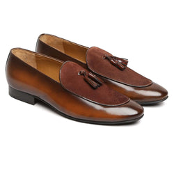 Brown Glossy/Suede Leather Apron Toe Tassel Slip - On Shoes By Brune