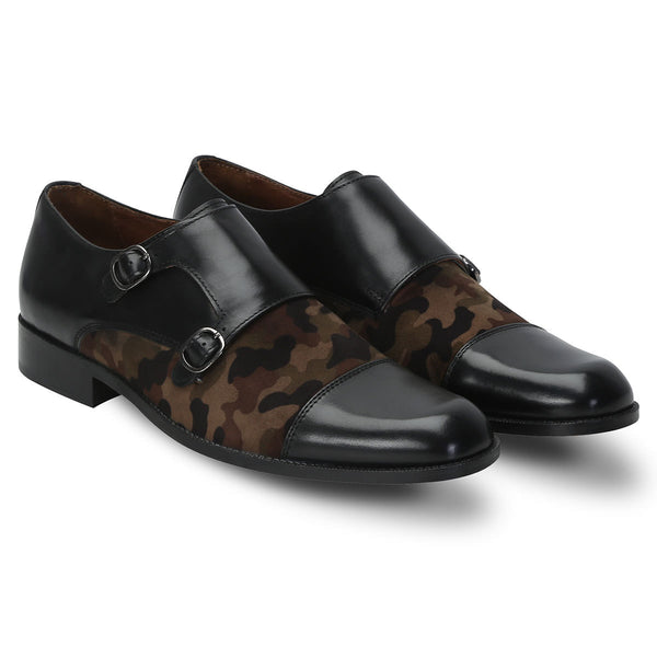 Camo Genuine Leather Monk Shoes By Brune