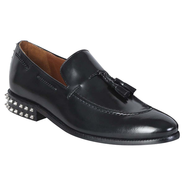 Black Leather Studded Back Side Lacing Tassel Loafers By Brune