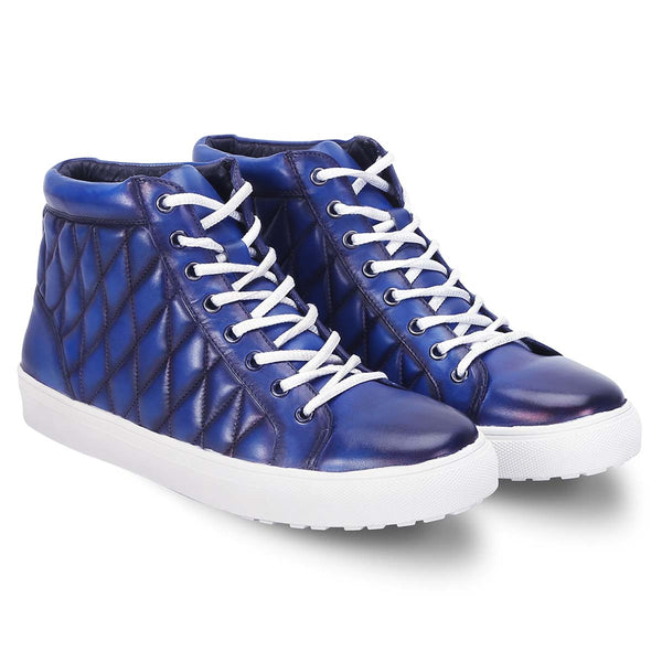 Blue Leather Diamond Stitched Sneakers By Bareskin