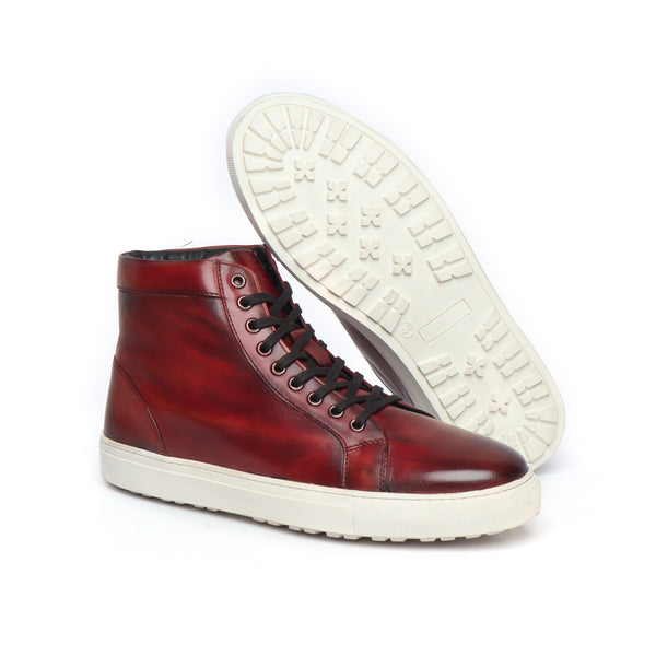 Wine Genuine Leather Sneakers By Bareskin