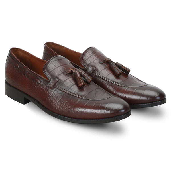 Brown Croco Print Side Lacing Formal Tassel Slip - On Shoes By Brune