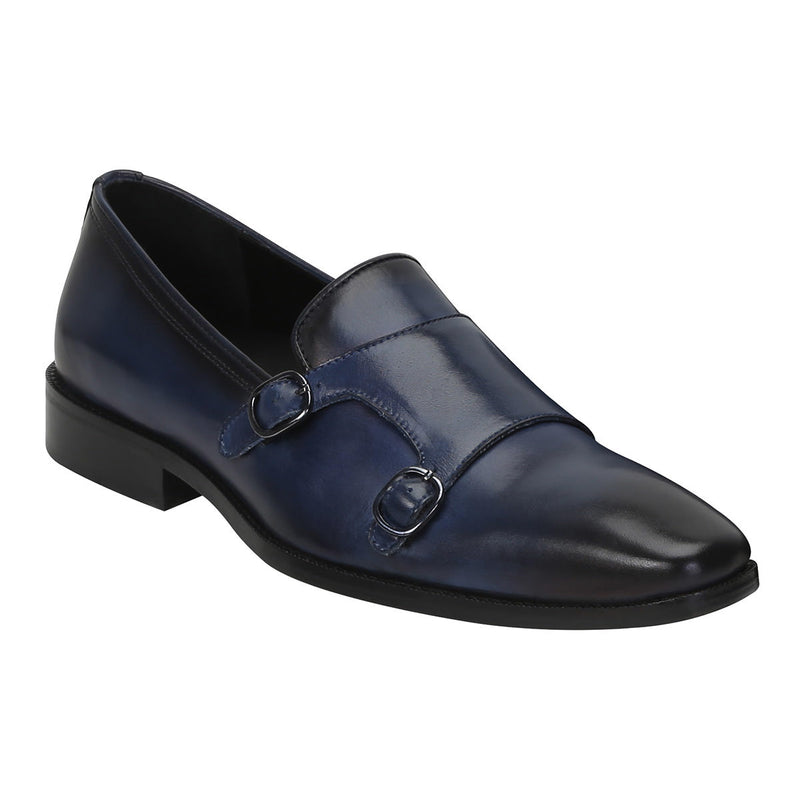 Blue Genuine Leather Monk Shoes By Brune