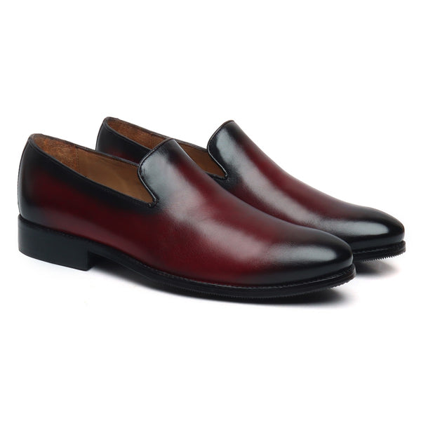 Wine Hand Rugged Whole Cut/One - Piece Formal Slip - On Shoes By Brune