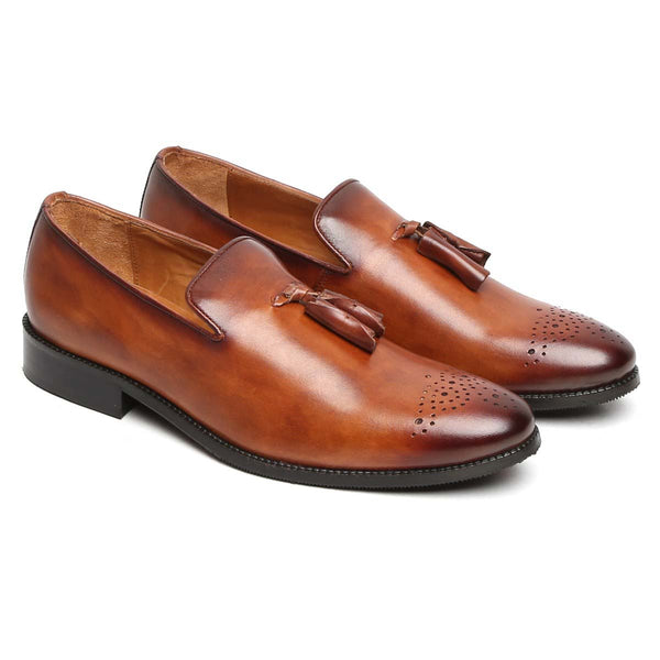 Tan Burnished Medallion Toe Formal Tassel Slip - On Shoes By Brune