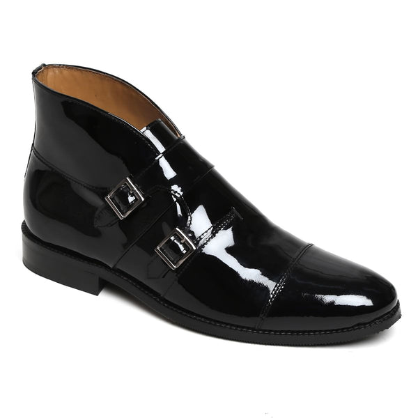 Patent Black Leather Double Monk Strap Ankle Boots For Men By Brune