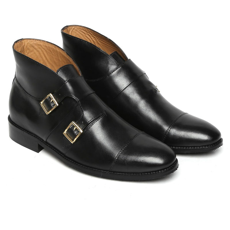 Black Leather Double Monk Strap Ankle Boots For Men By Brune