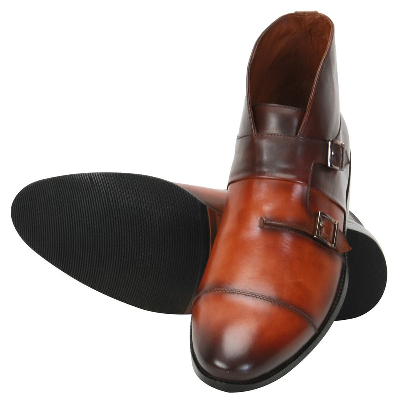 Tan/Brown Double Monk Strap Ankle Boots For Men By Brune