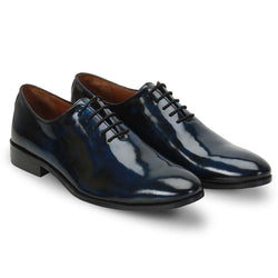 Blue Dual Shade Shiny Leather Whole Cut/One - Piece Oxford Formal Shoes By Brune