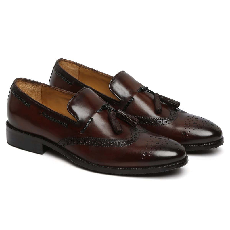 Brown Side Lacing Medallion Toe Formal Tassel Slip-On Shoes By Brune