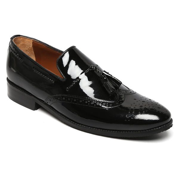Patent Black Leather Tassel Slip On By Brune
