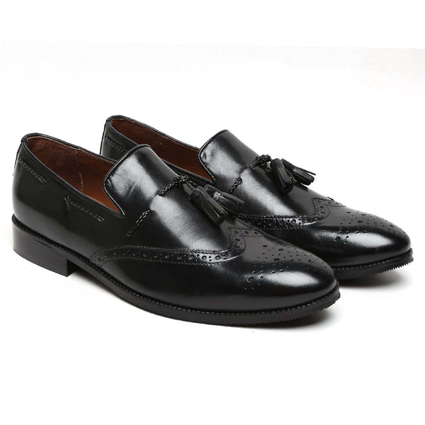 Black Side Lacing Medallion Toe Formal Tassel Slip - On Shoes By Brune