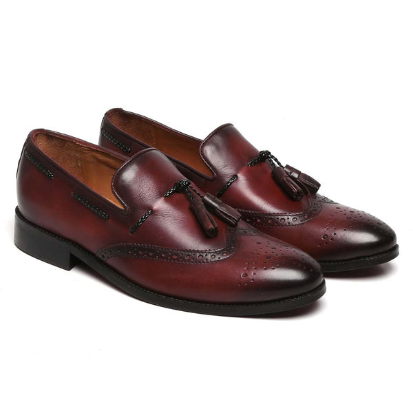 Wine Side Lacing Medallion Toe Formal Tassel Slip-On Shoes By Brune