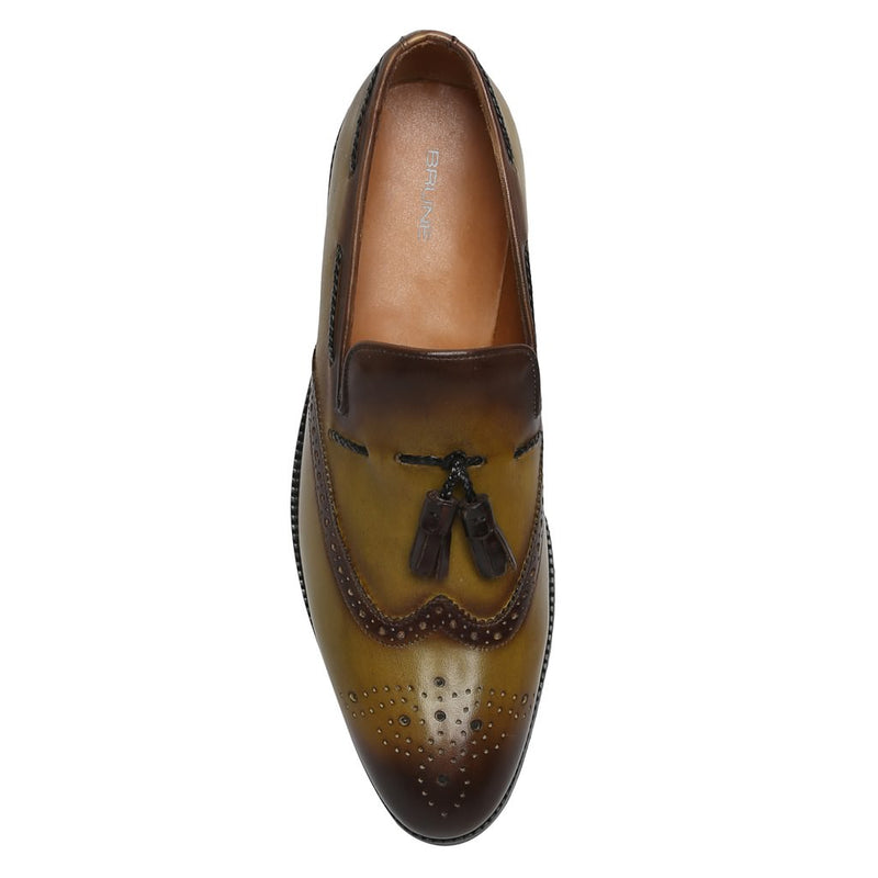 Olive Side Lacing Medallion Toe Formal Tassel Slip-On Shoes By Brune