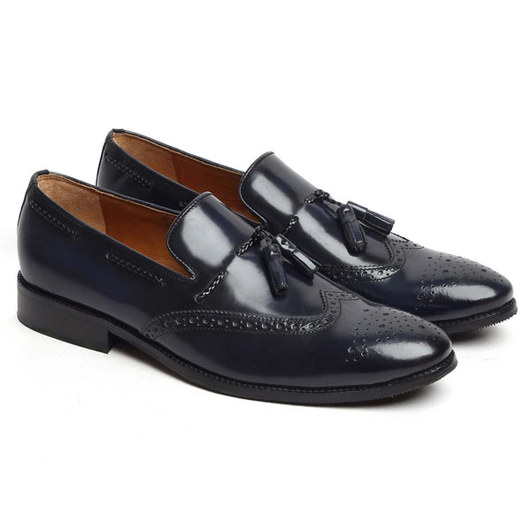 Blue Brush Off Leather Wingtip Tassel Slip-On By Brune