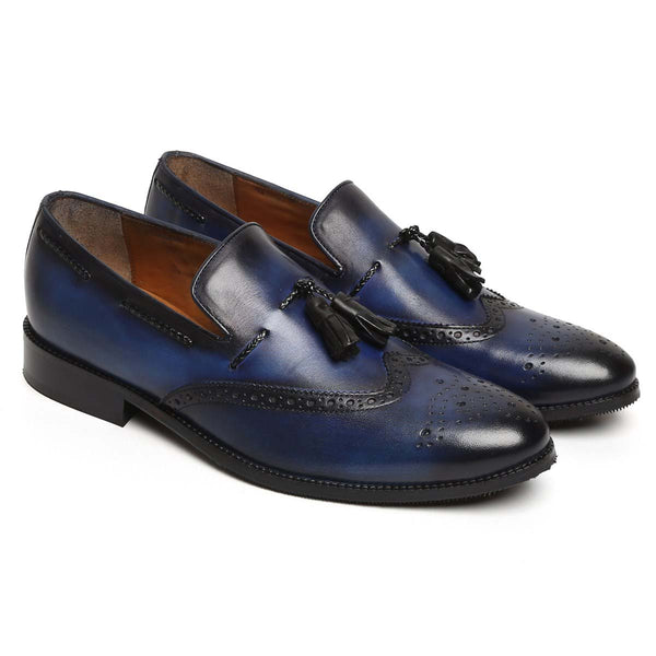 Navy Blue Side Lacing Medallion Toe Formal Tassel Slip On Shoe By Brune