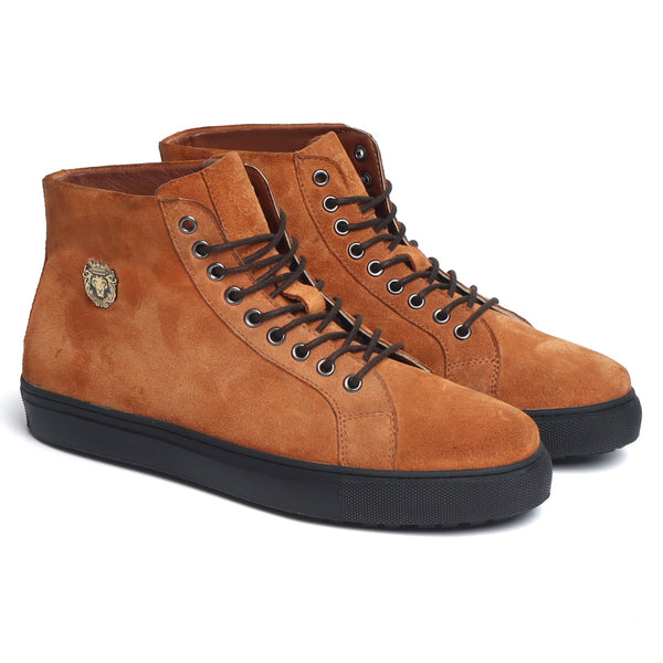 Tan Suede Leather High-Ankle Black Sole Sneakers by BARESKIN