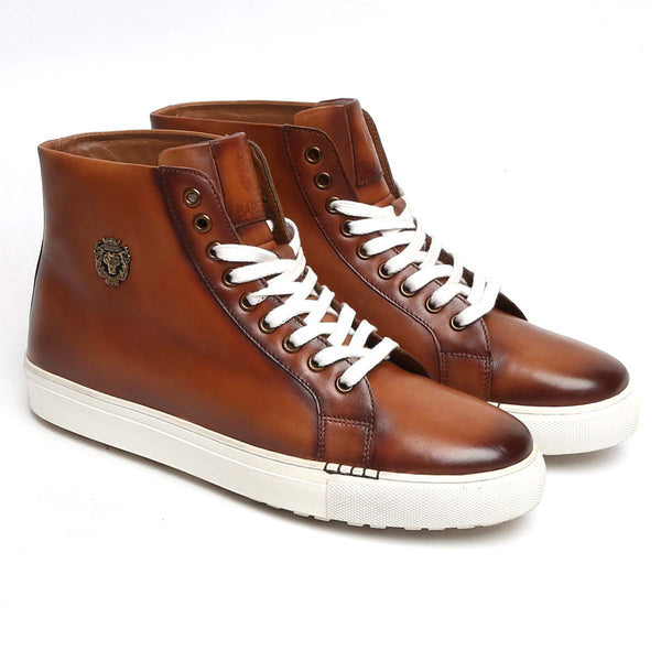 Burnished Tan High Ankle Lace-Up Genuine Leather Sneakers By Bareskin