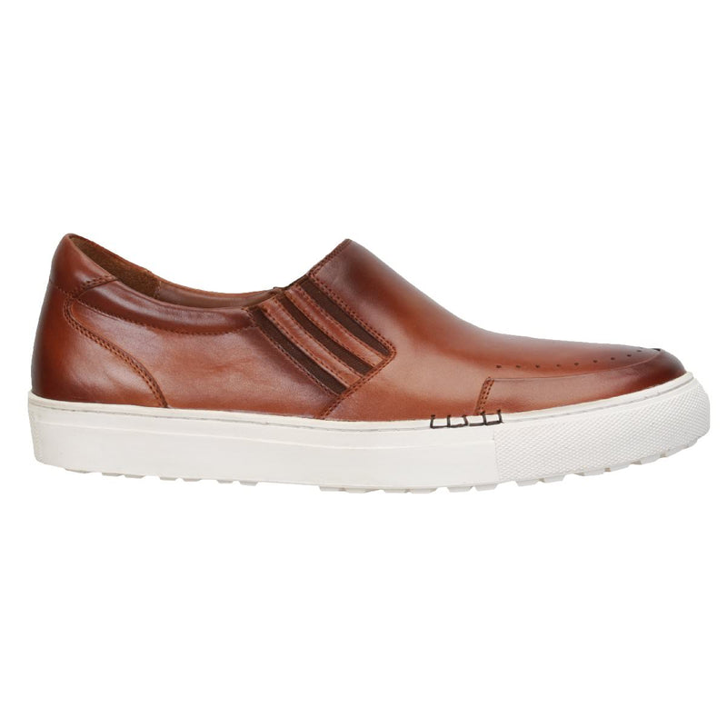 Burnished Tan Punch Line Toe Design Leather Sneakers By Bareskin