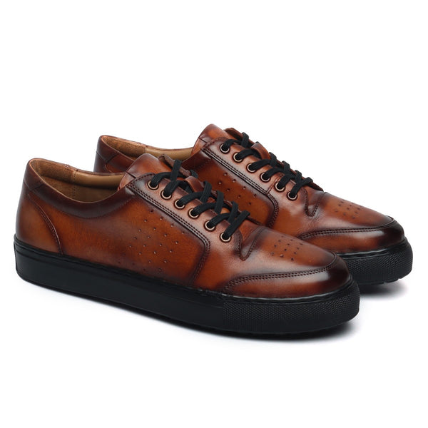 Brown Low Top Front/Side Punching Design Leather Black Sole Sneakers by Bareskin