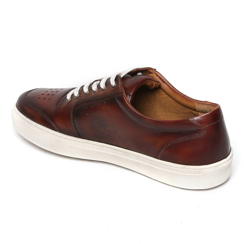 Brown Low Top Front/Side Punching Design Leather Sneakers By Bareskin