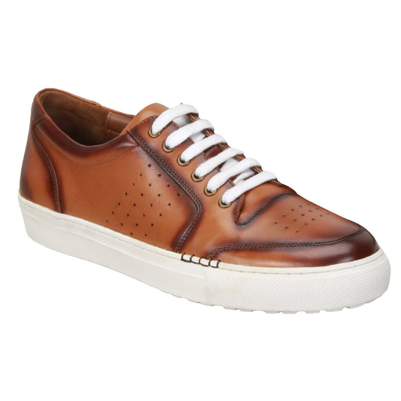 Tan Low Top Front/Side Punching Design Leather Sneakers By Bareskin
