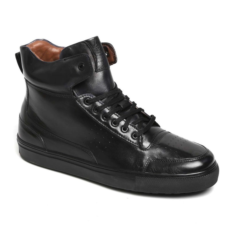 Black Leather High Top Lace-Up Sneakers By Bareskin