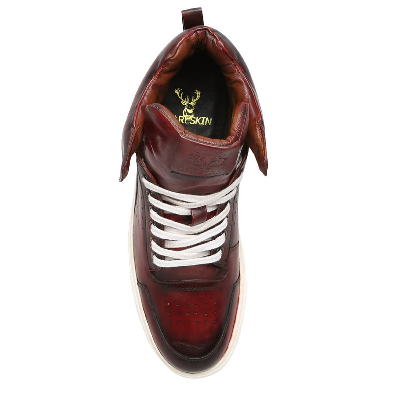 Wine Dual Shade Leather High Top White Lace And Sole Sneakers By Bareskin