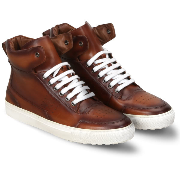 Tan Leather High Top White Lace And Sole Sneakers By Bareskin
