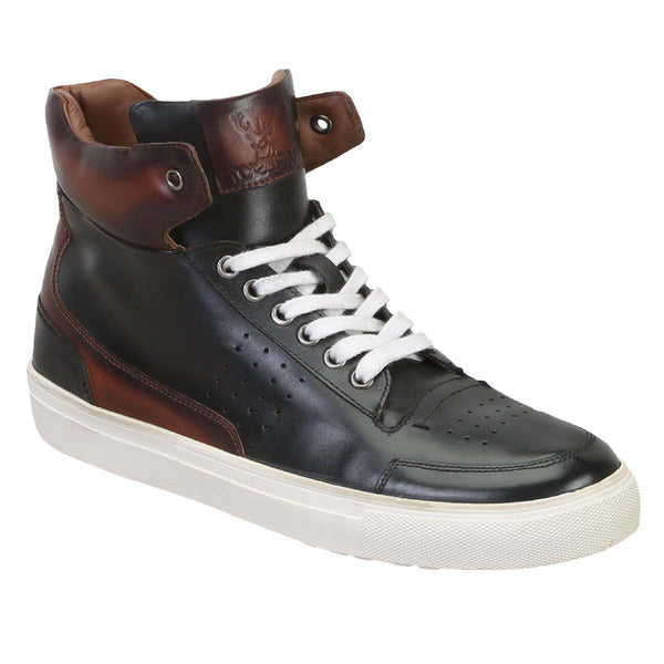 Black/Brown Dual Tone High Ankle With Perforated Design Leather Sneakers By Bareskin